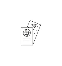 Travel ticket and passport icon vector
