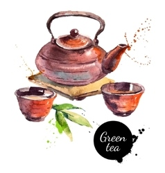 Watercolor hand drawn painted tea vector