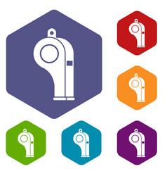 Whistle icons set hexagon vector