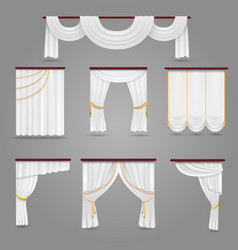 White curtains drapery for wedding room and vector
