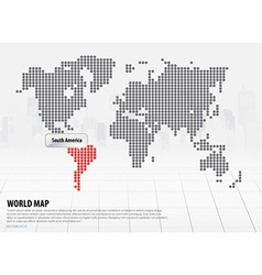World map with continents south america vector