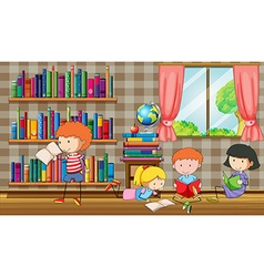 Kids reading books in the library vector image