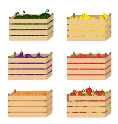 Wooden box with fruits and vegetables vector