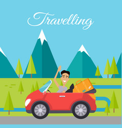 Young man traveling by car vector