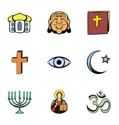 Faith icons set cartoon style vector