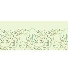 Embroidered forest horizontal seamless pattern vector