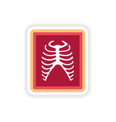 Paper sticker on white background x-rays of ribs vector