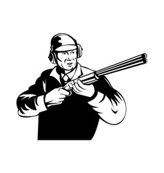 Hunter aiming shotgun rifle vector