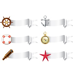 Marine tools white ribbons vector