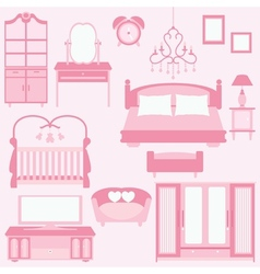 Set of furniture in bedroom vector