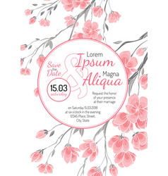 Invitation wedding card with sakura flowers vector