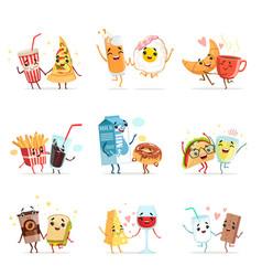 cute comic food cartoon characters best friends vector image