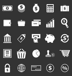 Money icons on black background vector image