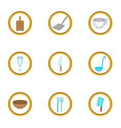 tableware icons set cartoon style vector image