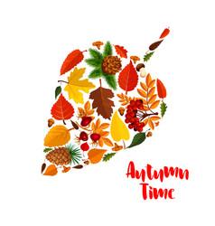 Autumn leaf poster with fall foliage mushroom vector