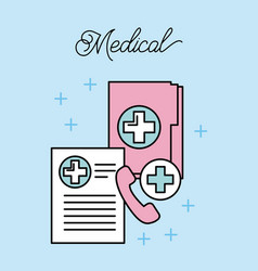 Medical folder file record telephone call service vector