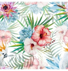 Watercolor pattern with parrot and flowers vector