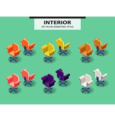 Set of office chairs in isometric style vector