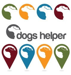 Dogs helper design template pins and web icons set vector