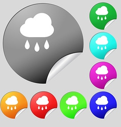 Weather rain icon sign set of eight multi-colored vector