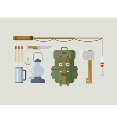 Fishing hunting items flat design vector