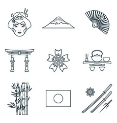 Dark color outline various japan icons set vector