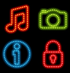 neon icon set vector image