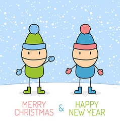 Merry Christmas with kids vector image