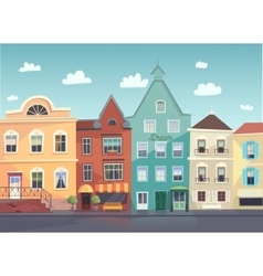 Sunny City street Doors and windows boutiques vector image