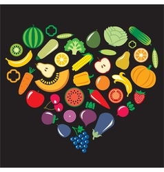 Fruits vegetables heart vector