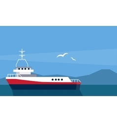 Cargo ship at the sea vector