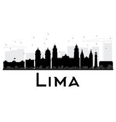 Lima city skyline black and white silhouette vector