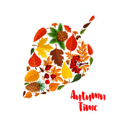 Autumn leaf poster with fall foliage mushroom vector