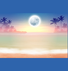 Beach with palm trees and full moon at night vector