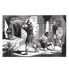 Beheading of john the baptist vintage vector