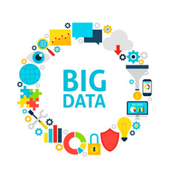 big data flat circle vector image