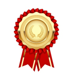 Blank award template - rosette with golden medal vector image vector image