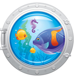 Blue porthole with colorful underwater life vector image