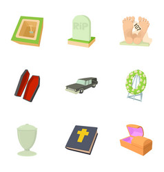 burial service icons set cartoon style vector image