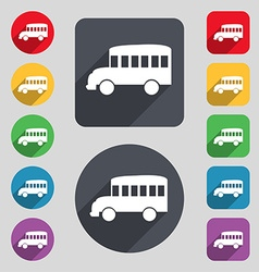 Bus icon sign A set of 12 colored buttons and a vector image