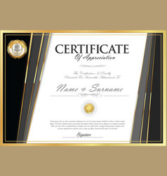 certificate retro design template 01 vector image
