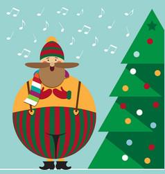 Cute christmas card with funny fat christmas carol vector