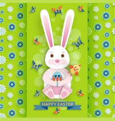 cute easter background with bunny and chicken vector image vector image