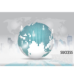 Dotted globe with building background vector