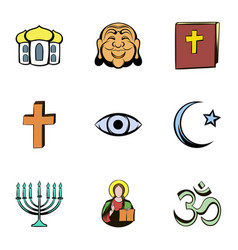 faith icons set cartoon style vector image vector image