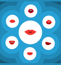 flat icon mouth set of lipstick mouth teeth and vector image