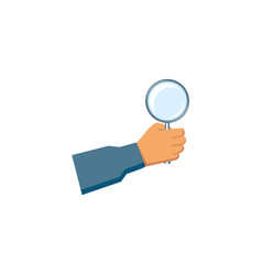 flat man hand holding magnifier vector image vector image