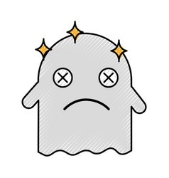 Ghost kawaii character with folder vector