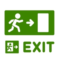 Green Emergency Exit Sign Set on White Background vector image