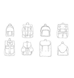 Hand drawn realistic contour backpack set vector